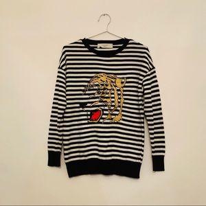 Zara knit striped tiger top